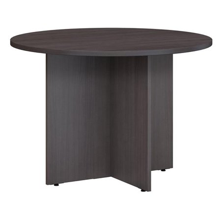 Bush Business Furniture 99TB42RSG 42 in. Round Conference Table with Wood Base - Storm Gray