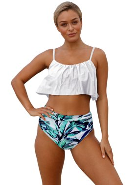 51405065926 Free shipping on orders over $35. Product Image Juniors' Swimsuit Celebrity  White Ruffle Top High Waist Bottom Bikini Swimsuit (multicolor, small