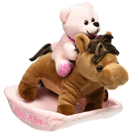 Chantilly Lane Rocking Horse Hush A Bye Plush, Pink, 12  Color:Pink  Size:12  Adorable animated musical 12  rocking horse and pastelpink baby bear, accented with printed satin ribbon and paw pads. Horse andbear rock forward and back while horse sings,  all the pretty little horses .a great gift, and keepsake for a Newborn baby girl, and a wonderful help formom! lullaby will repeat continuously for up to 10 minutes, or until turnedoff, so it may be used to soothe a child into peaceful sleep.