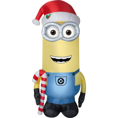 Airblown Inflatables 11 Ft. Minion Kevin with Candy Cane and Santa Hat