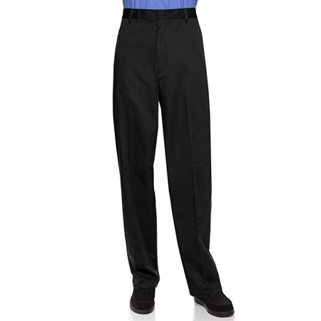 AKA Half Elastic Wrinkle Free Flat Front Men's Slacks – Relaxed Fit Twill Casual Pant Black 42 Long (Microfiber Slacks)