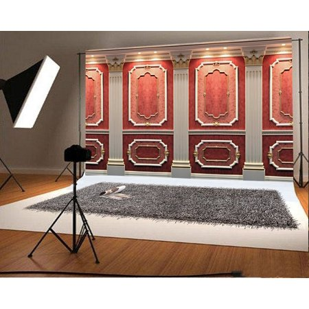 HelloDecor Polyester Fabric Floral Wall Backdrop 7x5ft Photography Backdrop Pillar Lights Carved Wood Studio Photos Video Props Children Baby Kids Portraits