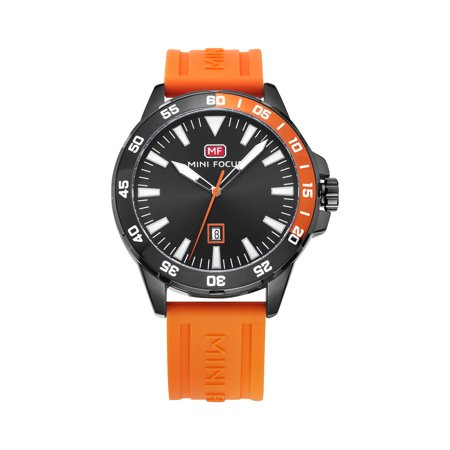 Mens Quartz Watch Orange Silicone Belt Time Calendar Design Date Display for Friends Lovers Best Holiday Gift