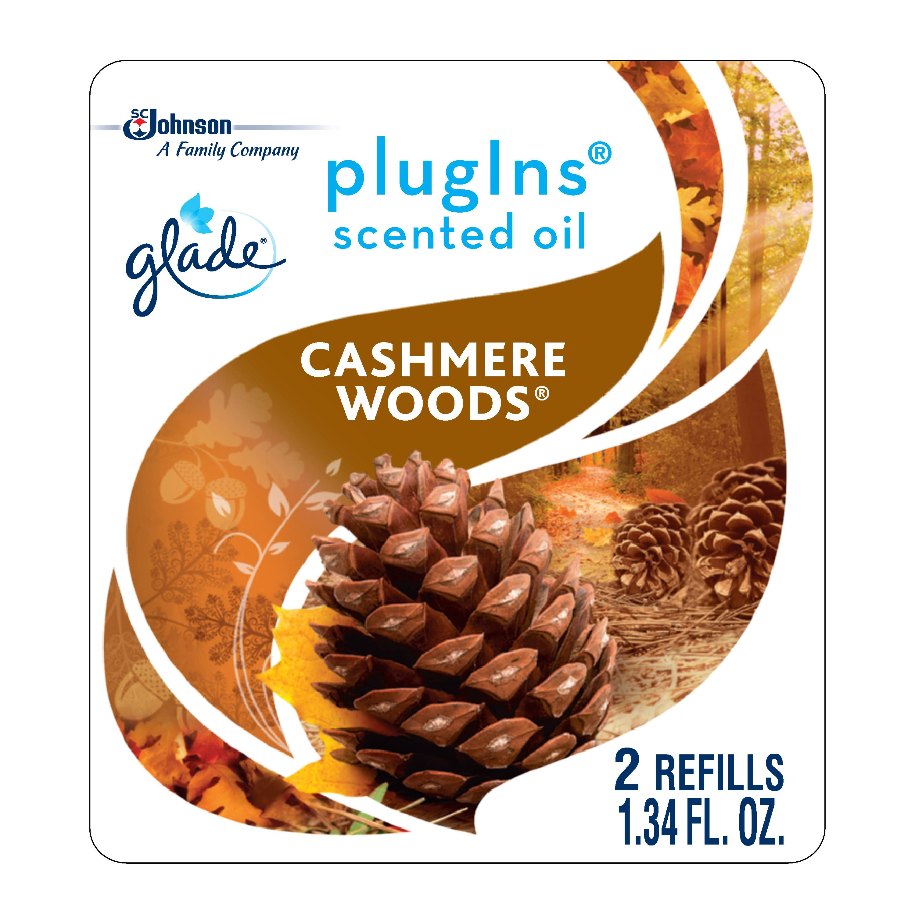 Glade PlugIns Scented Oil Refill Cashmere Woods, Essential Oil Infused Wall Plug In, Up to 50 Days of Continuous Fragrance, 1.34 oz, Pack of 2