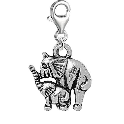 Baby and Mom Family Elephant Clip on Pendant Charm for Bracelet or Necklace