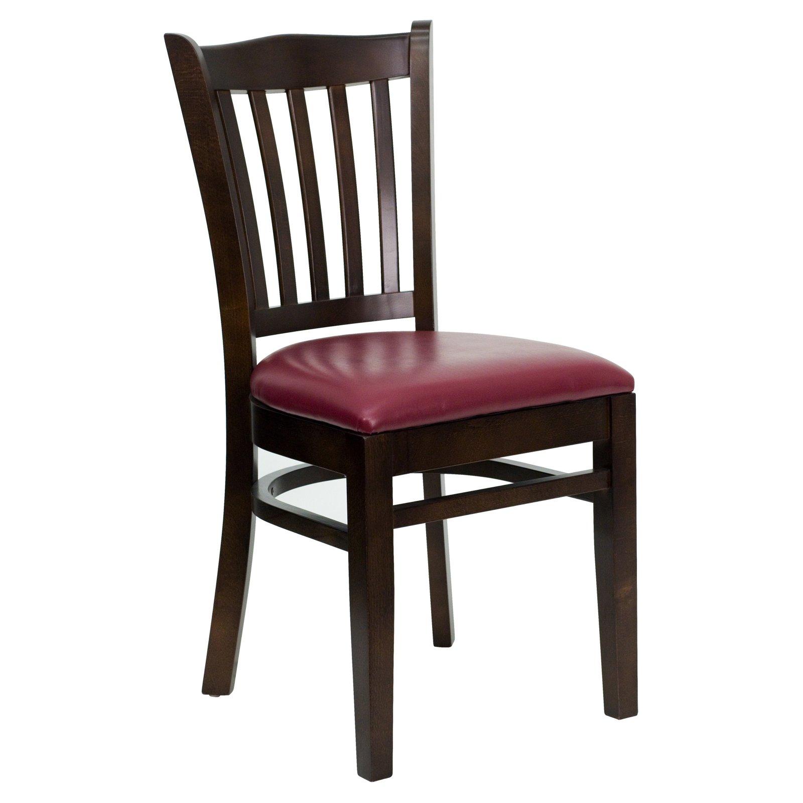 Flash Furniture HERCULES Series Walnut Finished Vertical Slat Back Wooden Restaurant Chair, Vinyl Seat, Multiple Colors