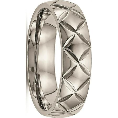 JbSP- Titanium Polished Diamond Cut (Gye Nyame Ring)