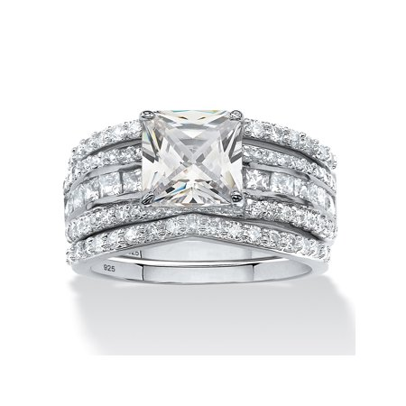 2.87 TCW Princess-Cut Cubic Zirconia Three-Piece Bridal Ring Set in Platinum over Sterling Silver