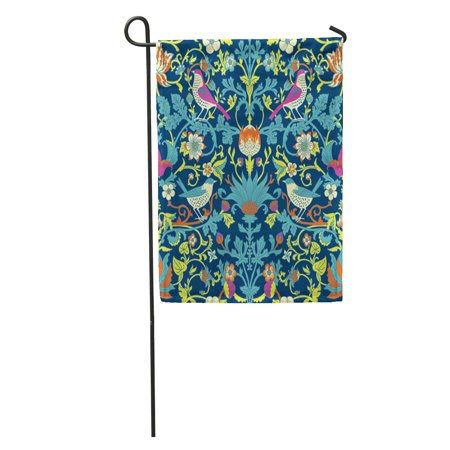 NUDECOR Colorful Morris Dark Enchanted Vintage Flowers and Birds Magic Forest William Garden Flag Decorative Flag House Banner 28x40 inch - image 1 of 2