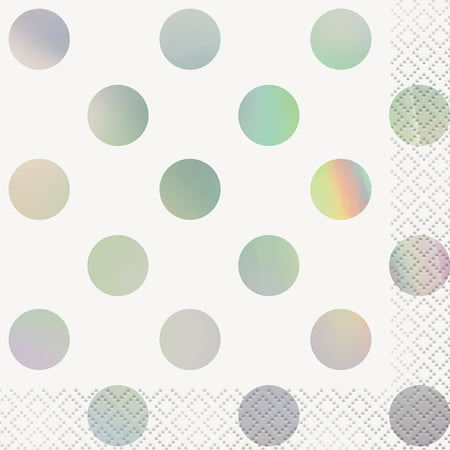 Foil Polka Dot Paper Beverage Napkins, 5 in, Iridescent, (Dot Print Beverage Napkins)