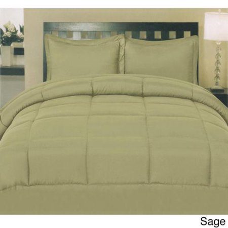 Plush solid color box stitch down alternative comforter sage king for Home design down alternative color king comforter