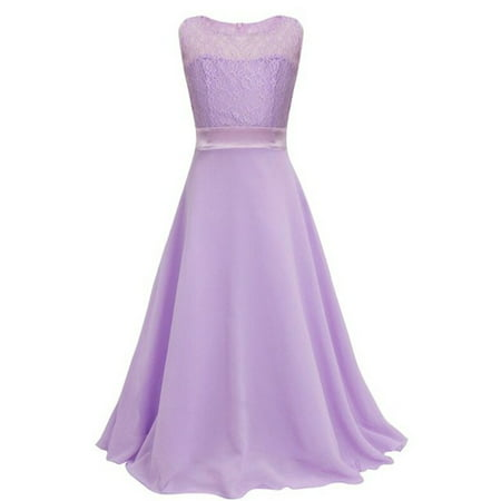 704d84fc652 Flower Girl Formal Kid Birthday Wedding Bridesmaid Graduation Pageant Lace  Dress Light Purple