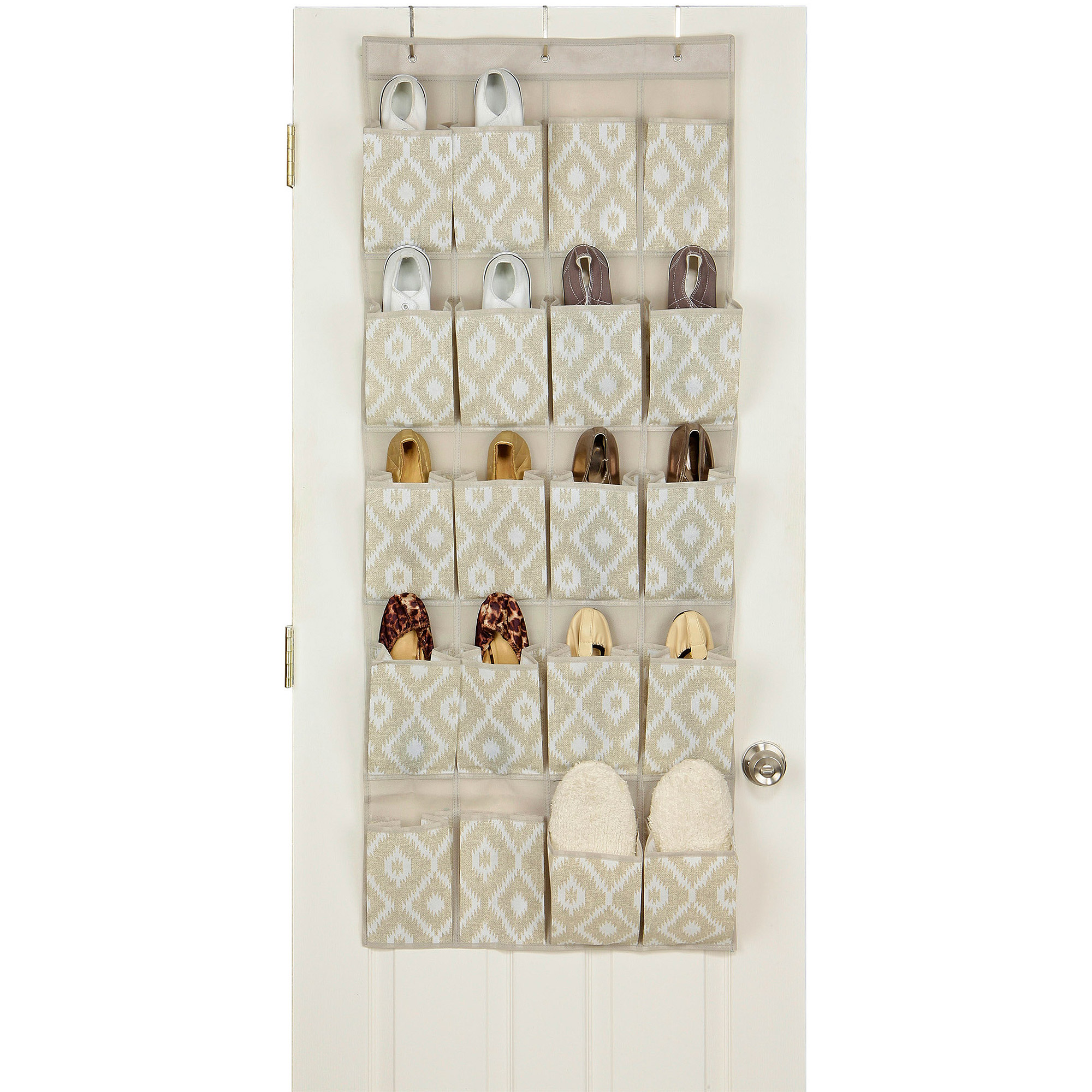 HouseCandie 20-Pocket Over-The-Door Shoe Organizer, India Faux Jute