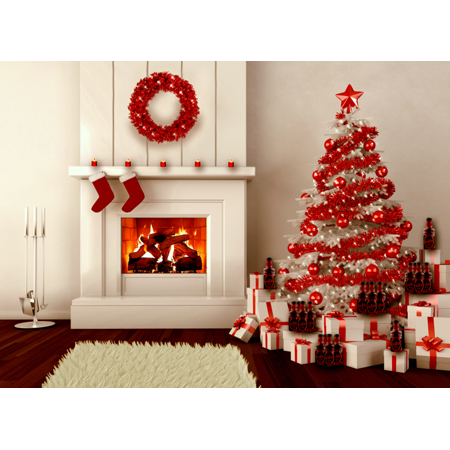 7x5FT Fireplace Christmas Photography Backdrop Photo Studio Props Background](Christmas Fireplace Props)