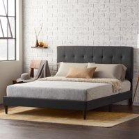 Rest Haven UpholsteredPlatformBed Frame withSquare TuftedHeadboard