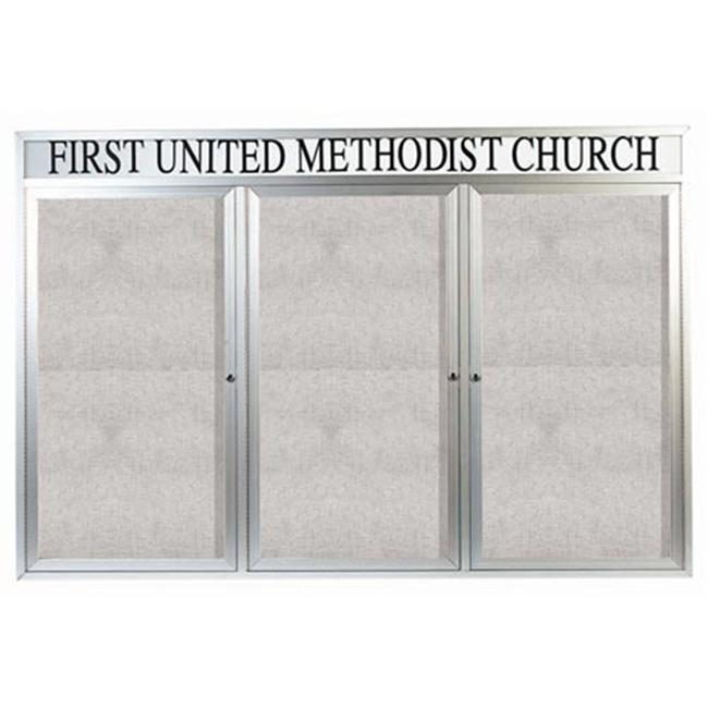 Aarco Products ODCC4872-3RHI 3-Door Illuminated Outdoor Bulletin Board with Heade - Clear Satin Anodized