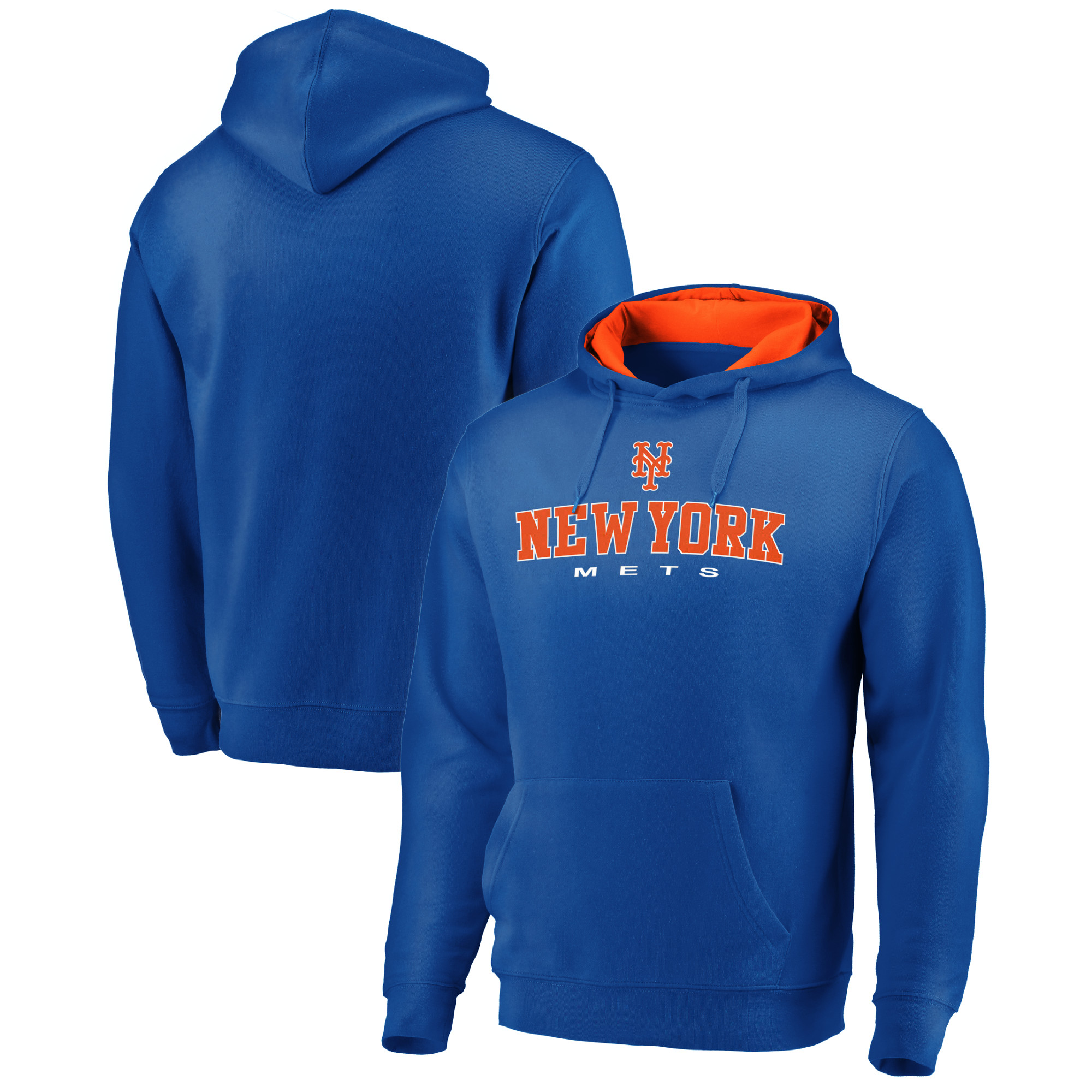 New York Mets Fanatics Branded Big & Tall Block Lineup Zone Fleece Pullover Hoodie - Royal