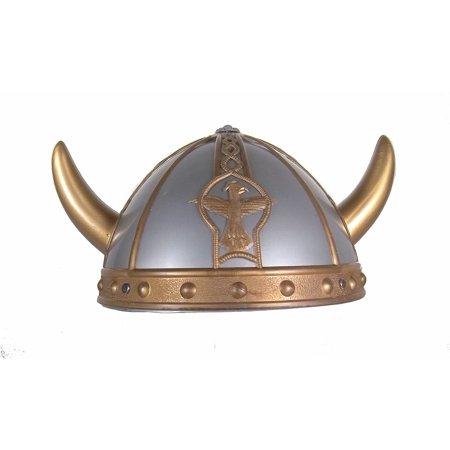 Children's Viking Helmet Costume Plastic Gold Silver Hat Horn Barbarian Warrior