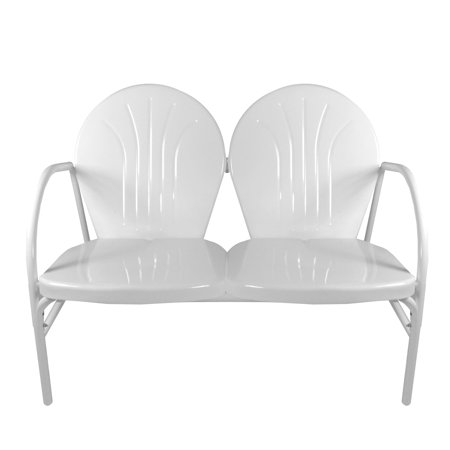 White Retro Metal Tulip 2-Seat Double Chair Double Seat White Rocker