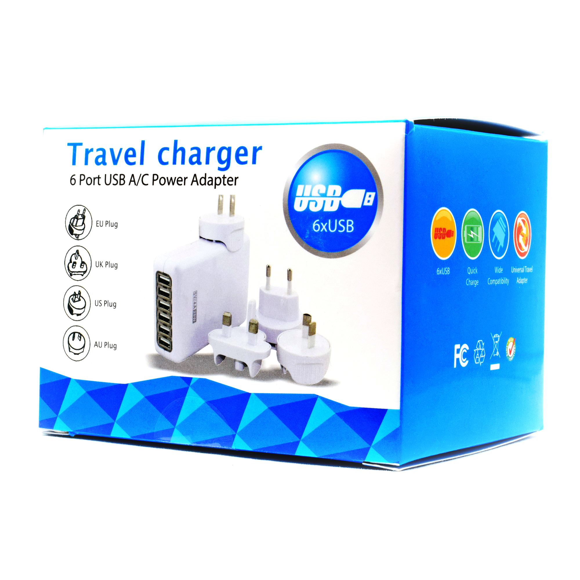 Universal Travel Charger Ultra Compact 6 Port USB AC Power Adapter Perfect for any MP3, iPod or Cell Phone - Includes Eu Plug, UK Plug, US Plug and Au Plug