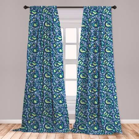 Paisley Curtains 2 Panels Set, Ocean Waves Like Design with Big and Small Raindrops Inspired Artwork, Window Drapes for Living Room Bedroom, Blue and Green, by Ambesonne