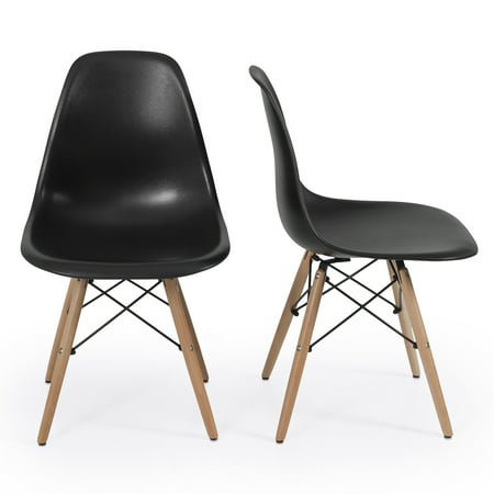 Belleze 2 black dsw molded plastic side dining chairs for Black plastic dining chairs