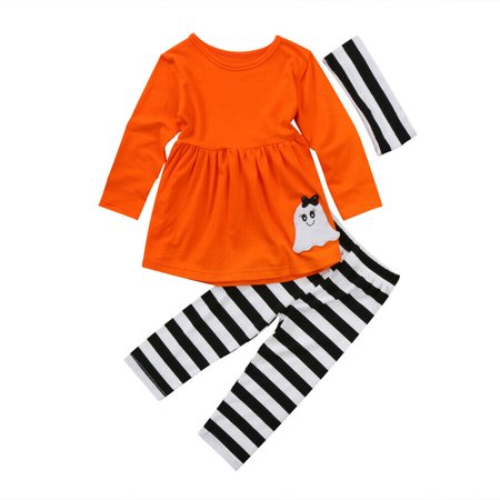 Goocheer Infant Baby Kids Girl Halloween Outfits Blouse+ Stripe Pants+ Headband 3Pcs Suits Costume