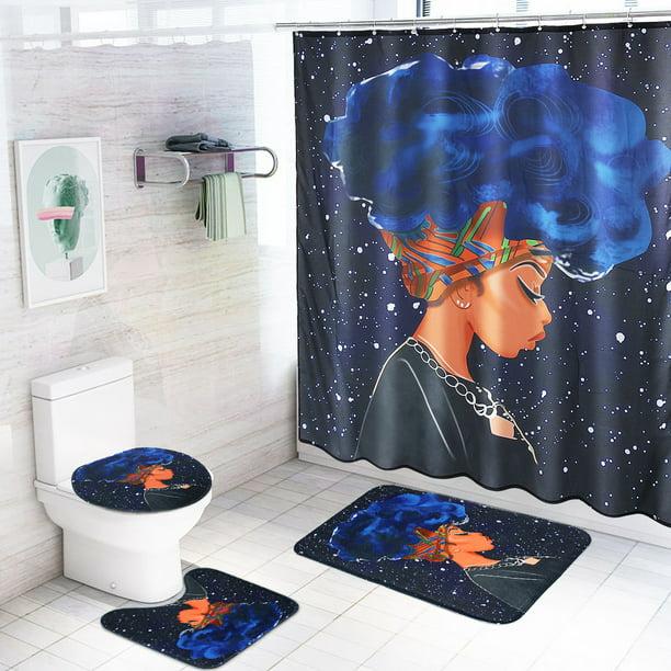 African Woman Bathroom Rug Set Shower Curtain Non Slip Toilet Lid Cover Bath Mat