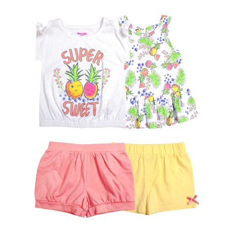 Pineapple Mix and Match, 4-Piece Outfit Set (Little Girls) - Match Colors Outfits