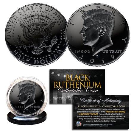 2019 BLACK RUTHENIUM JFK Kennedy Half Dollar U.S. Coin with COA (Denver Mint) Coin Box Coa No Coins