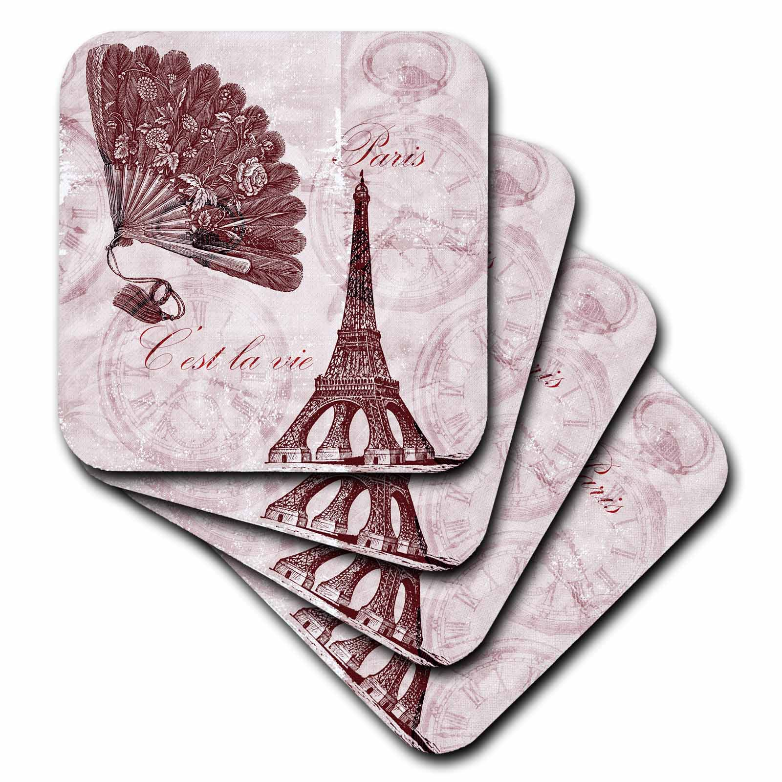 3dRose Paris Vintage Eiffel Tower Time in Pinks, Ceramic Tile Coasters, set of 4