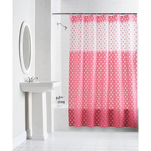mainstays polka dot shower curtain. Black Bedroom Furniture Sets. Home Design Ideas