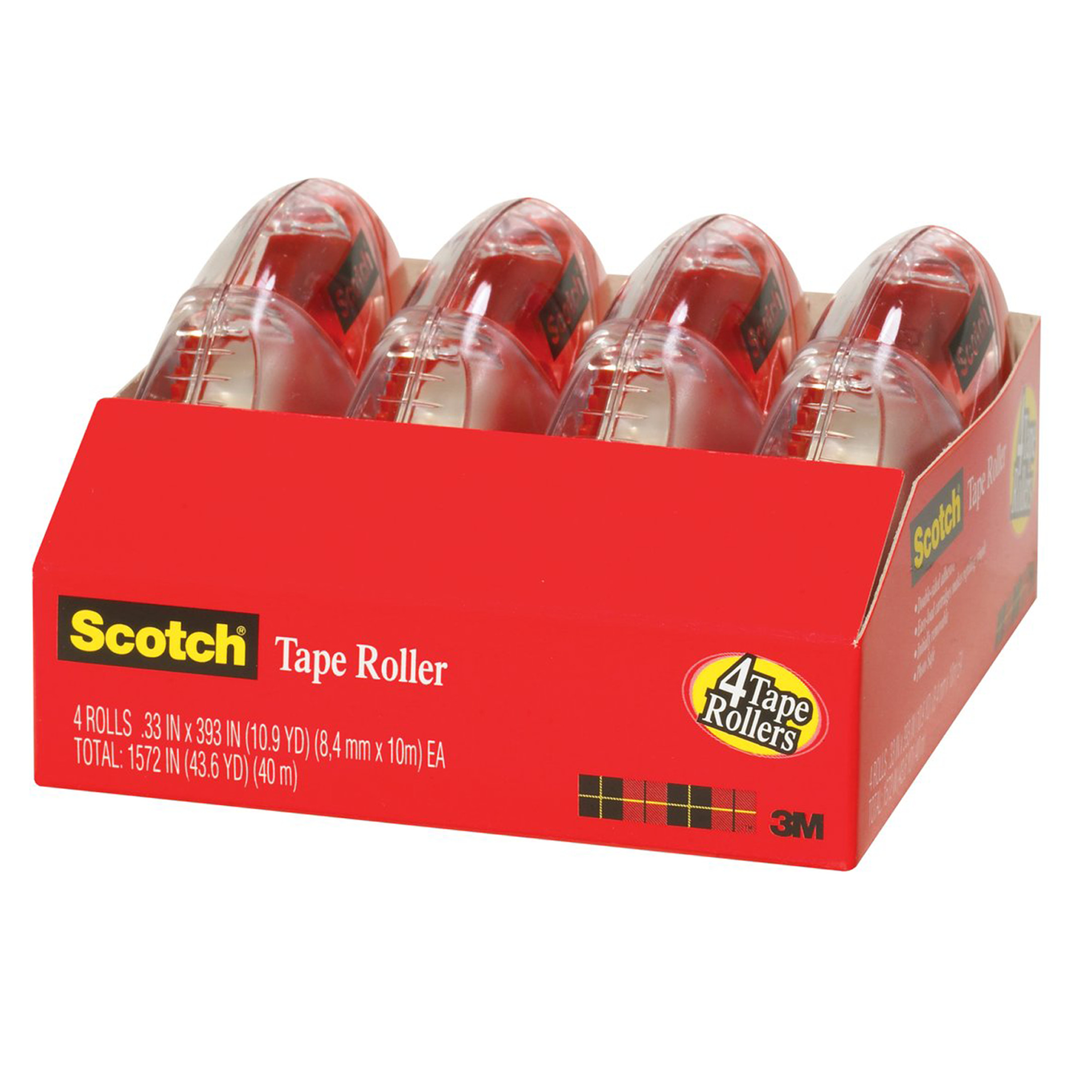 "Scotch Continuous Double-Sided Adhesive Roller w/Applicator, 1/3"" x 393"", Clear, 4/Pack"