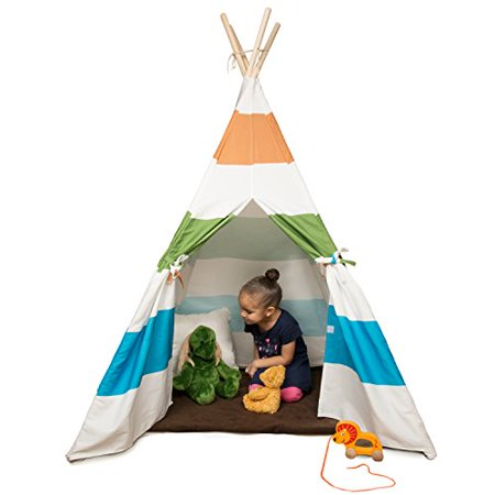 Kid's Canvas Teepee Tent - 100% Cotton with Pine Wood Frame (White/Grey Stripes) - 5 ft Tall Tee Pee- Collapsible for easy (Frame Store Portland)