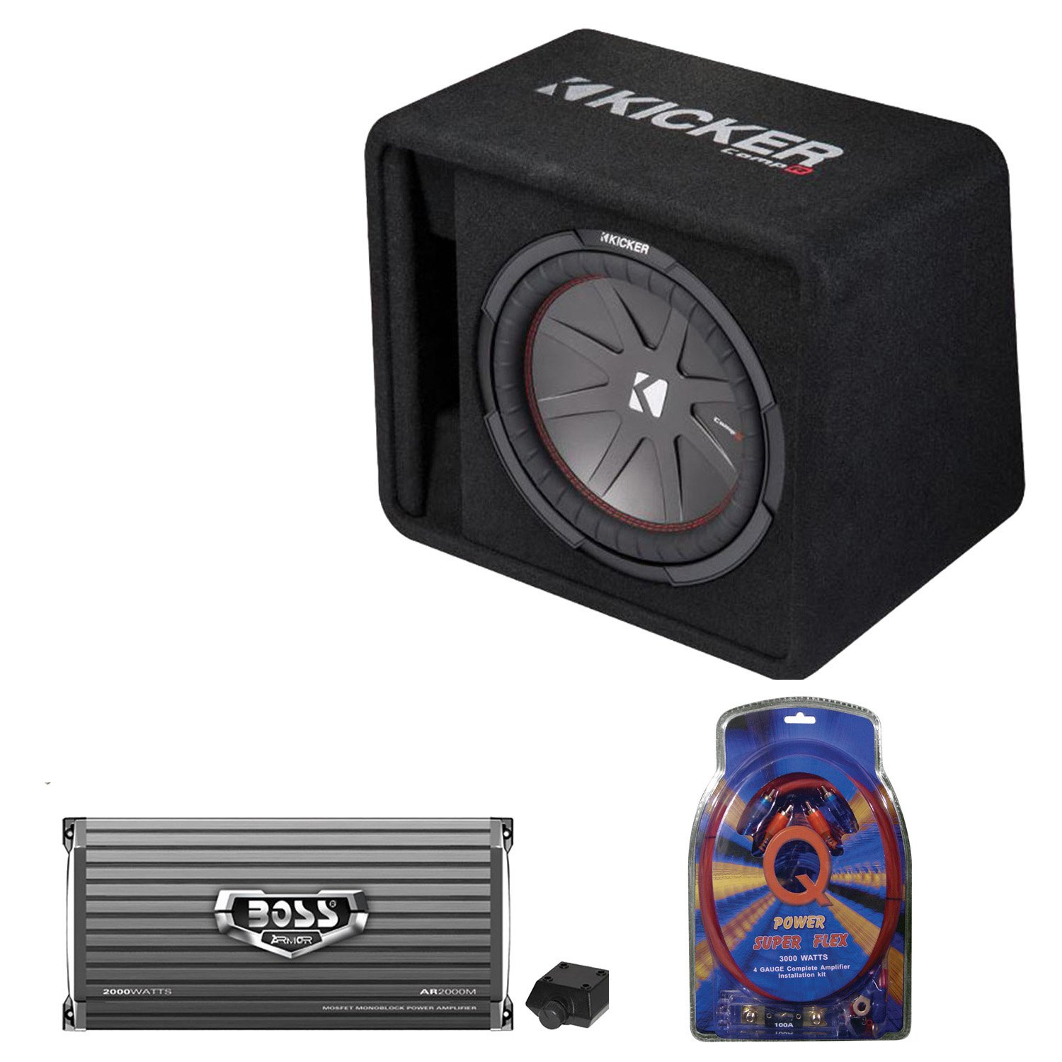 Kicker 12 Inch 1000W Subwoofer Box + 2000W Mono Amplifier, Remote + Wiring Kit