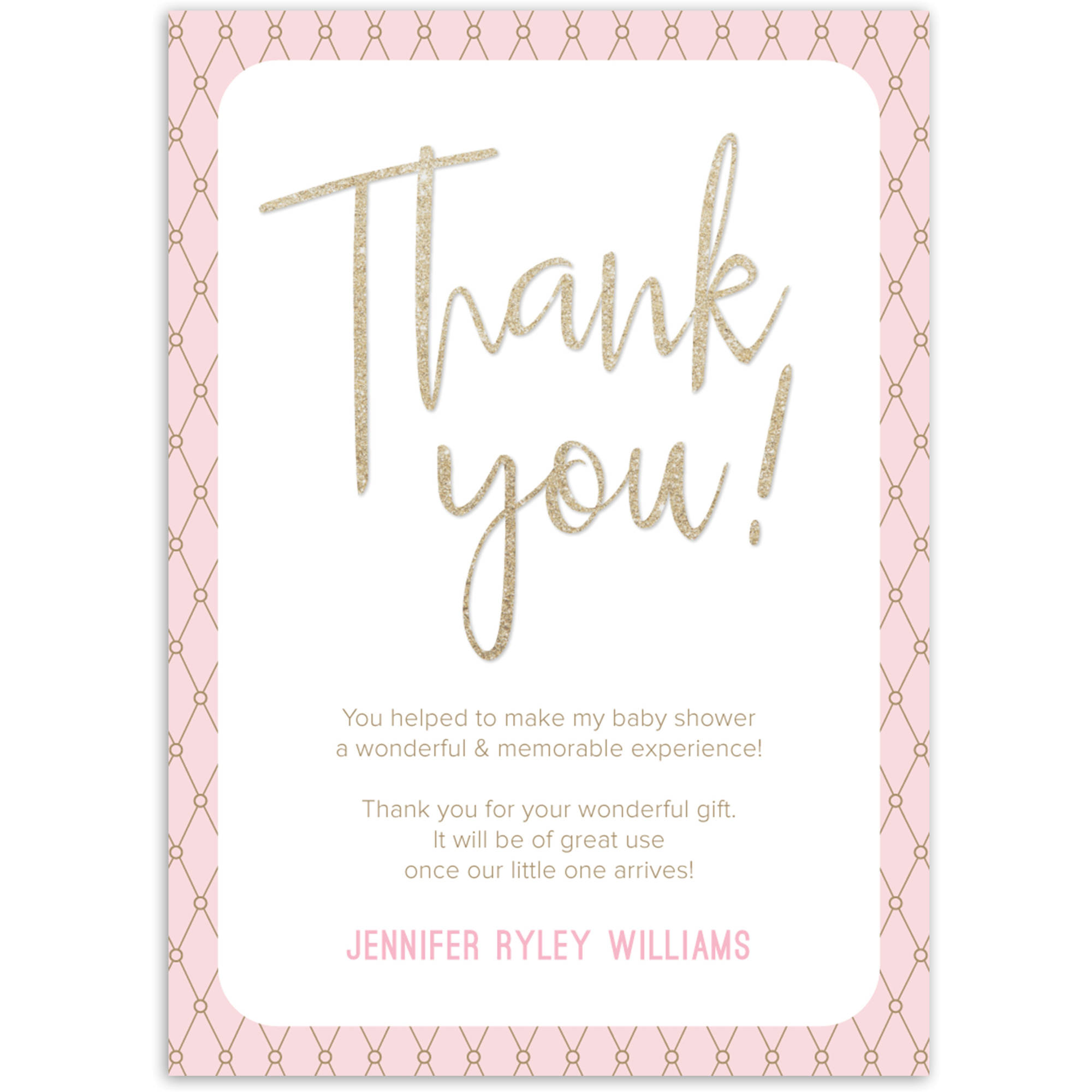 Glamorous Sparkle Baby Thank You Card