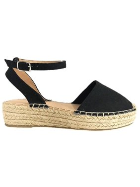 6eda2be74dd2 Product Image FIESTA Women s Espadrilles Ankle Strap Braided Platform Cap  Toe Sandals Black