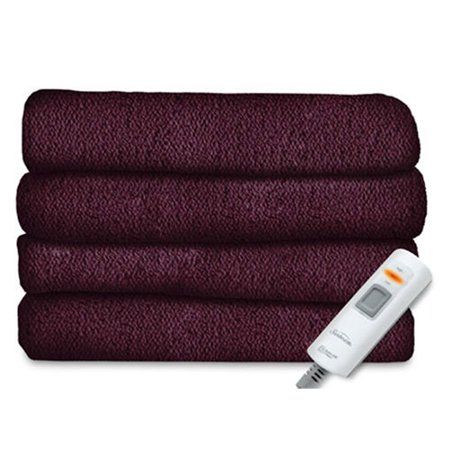 Sunbeam Velvet Plush Electric Heated Throw Blanket Eggplant Purple Gorgeous Eggplant Throw Blanket