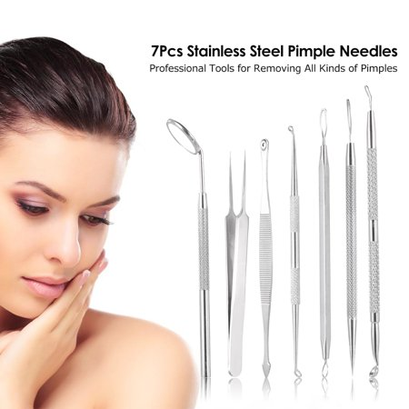 7Pcs Stainless Steel Acne Needle Blackhead Remover Kit Pimple Blemish Comedone Acne Extractor Remover Tools with Probes Mirror & Portable Case - image 5 de 7