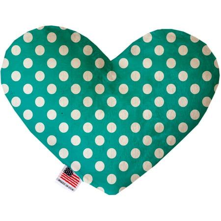 - Seafoam Green Swiss Dots 6 Inch Heart Dog Toy