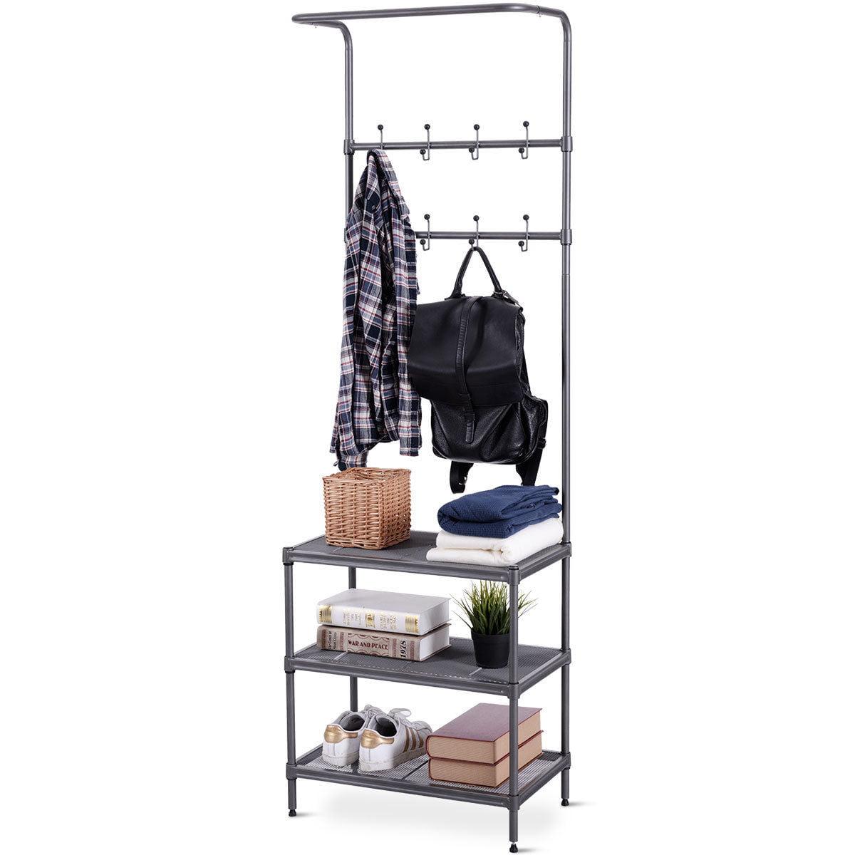 Costway Metal Entryway Coat Hat Shoes Rack 3 Tier Storage Shelf 16