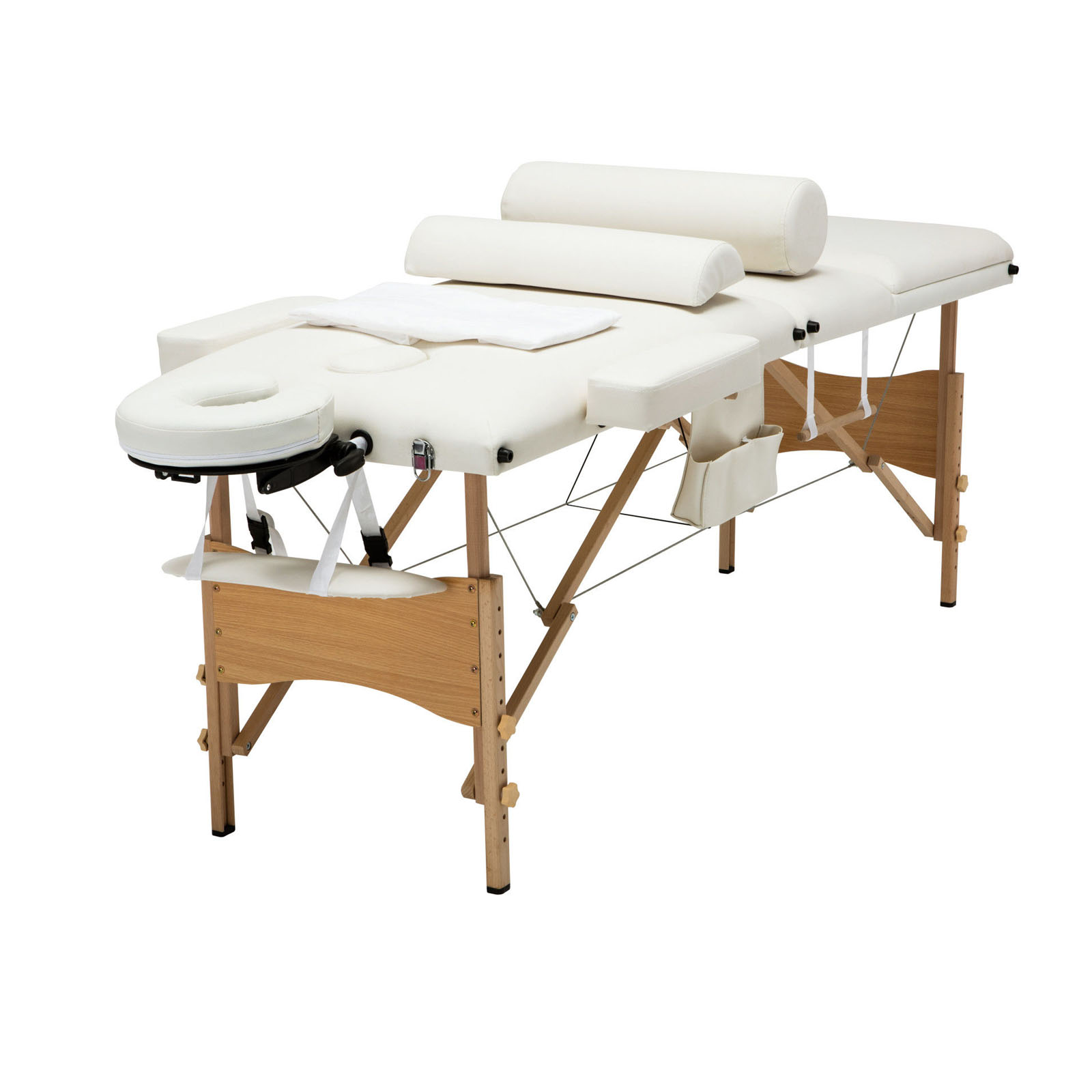 """Zimtown 84""""L x 27""""W All inclusive Massage Table, 3 Section Portable Folding Massage Bed Therapy Equipment for Salon Bodybuilding Beauty, with Table Sheet, 2 Bolsters, Cradle Cover and Towel Hanger"""