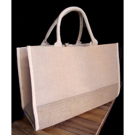 Fashion Jute Blend Cotton Tote Bags Gussetted Heavy Duty Burlap Bags