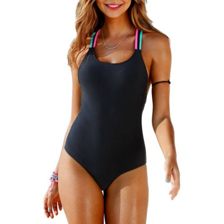 Womens one piece Swimsuit Sexy Coloured rope Bikini Padded Swimwear Bathing (Women One Piece Bathing Suit)
