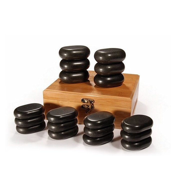 Master Massage 18-Piece Mini Body Massage Hot Stone Set Med Bamboo Box - Walmartcom-7644