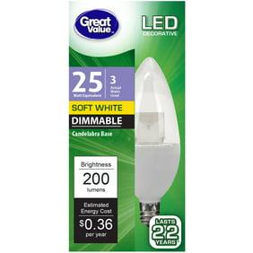 LuminWiz 6-Pack 4W 2700K Dimmable LED Candelabra LED bulbs E12 Base ...