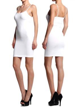 TheMogan Women's 2PACK Stretch Seamless Cami Slip Bodycon Mini Dress Fullslip