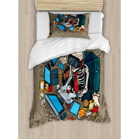 Gamer Twin Size Duvet Cover Set, Skeleton Programmer and Hacker in Virtual Reality Eating Fast Food Theme Illustration, Decorative 2 Piece Bedding Set with 1 Pillow Sham, Multicolor, by (Bedding Food)
