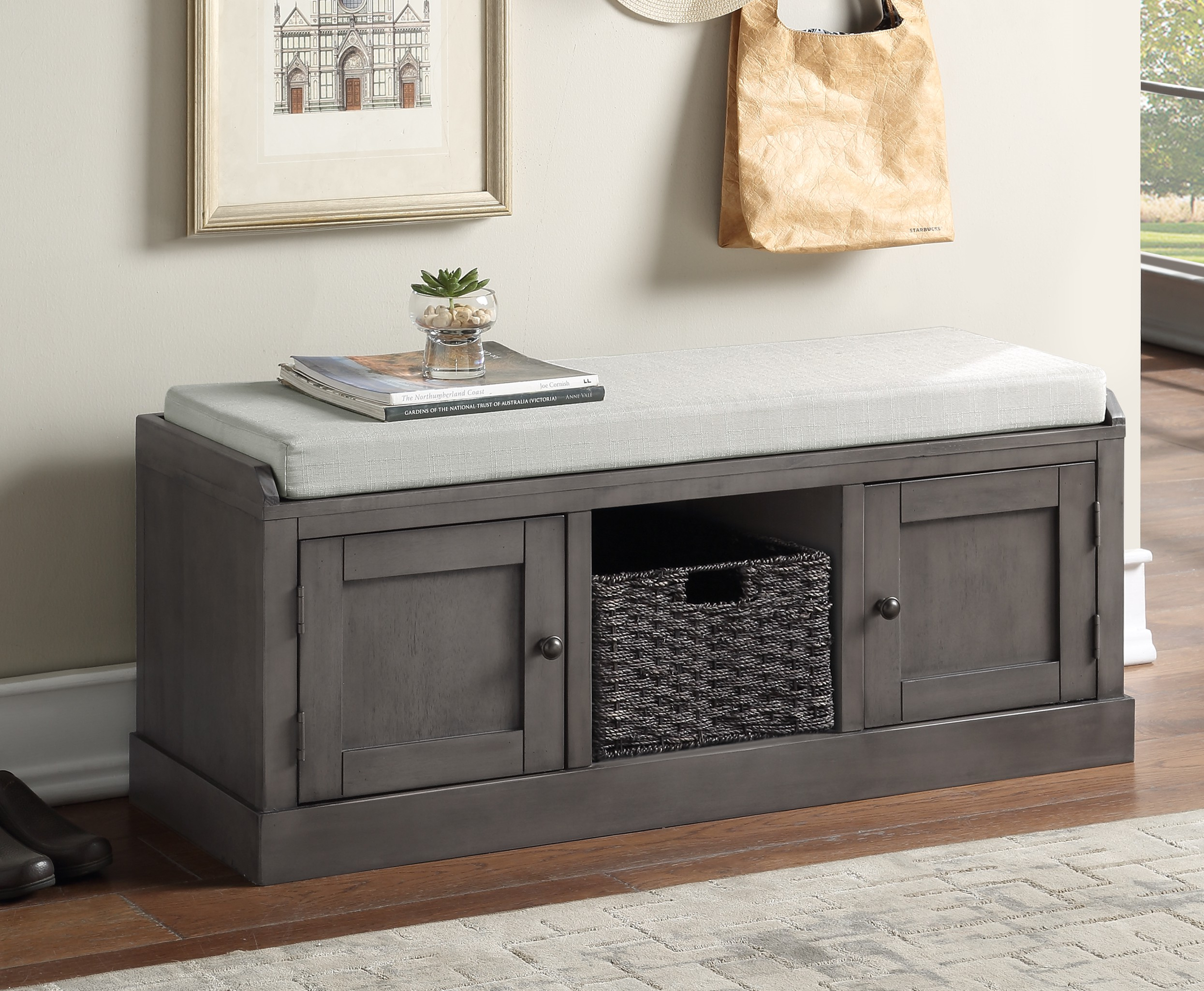 Yofe Entryway Storage Bench Rustic Grey Storage Organizer Bench Entry Storage Bench With 2 Cabinets And 1 Basket Wood Entryway Shoe Bench With Cushioned Seat Bedroom Storage Ottoman Bench R3494 Walmart Com