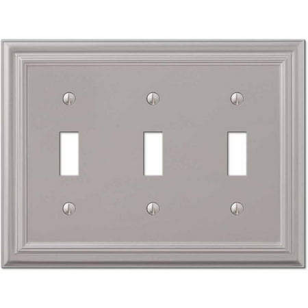 Continental Satin Nickel Cast Triple Toggle Wallplate